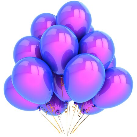 Helium balloons colored blue and purple. Elegance birthday party decorations concept photo