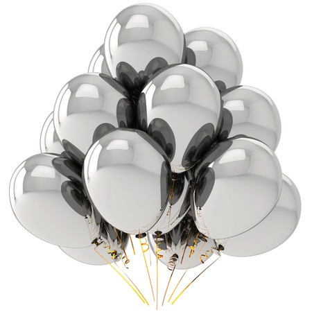 Helium balloons metallic. Modern party chrome decoration. This is a detailed 3D render (Hi-Res). Isolated on white background