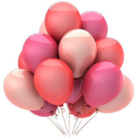 Party balloons colored romantic pink. Love sentimental emotions concept. Elegance Valentines day decoration photo