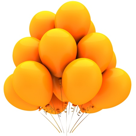 Party balloons total orange. Glamour birthday decoration. Sunny holiday joyful emotions. This is a detailed 3D render (Hi-Res). Isolated on white background photo