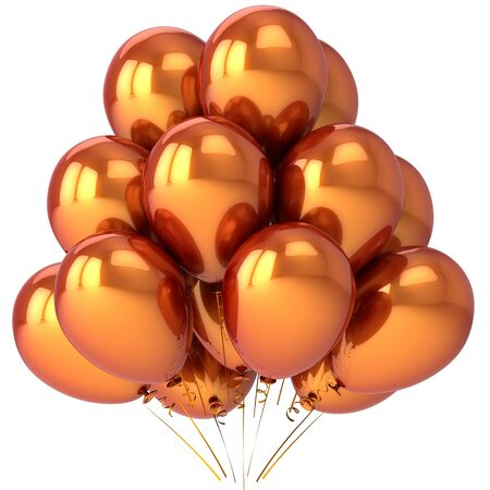 Luxury balloons colored golden metallic. Beautiful modern birthday decoration. Joyful party concept. This is a detailed 3D render (Hi-Res). Isolated on white background Stock Photo - 8669920