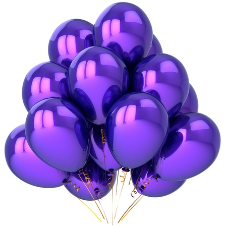 Party balloons colored purple. Beautiful birthday celebration decoration. Joyful emotions concept. This is a detailed 3D render (Hi-Res). Isolated on white background photo