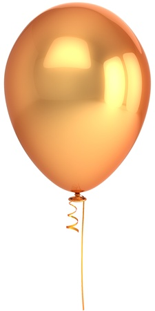 Golden balloon. Beautiful metallic birthday decoration. Idea concept. This is a detailed 3D render (Hi-Res). Isolated on white background Stock Photo