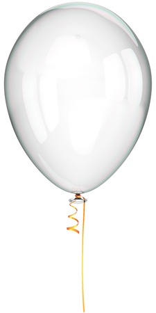 see through: White balloon clean and translucent. Party decoration classic. This is a detailed three-dimensional render 3d (Hi-Res). Isolated on white background