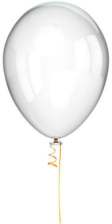 Witte ballon schoon en doorschijnend. Partij decoratie klassieker. Dit is een gedetailleerde driedimensionale render 3d (Hi-Res). Geïsoleerd op witte achtergrond Stockfoto