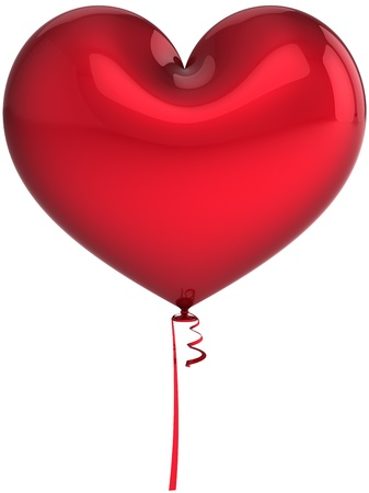 Heart balloon total red. I Love you abstract. Wedding romantic decoration. Valentines day background template. This is a detailed three-dimensional render 3d (Hi-Res). Isolated on white background Stock Photo - 8669891