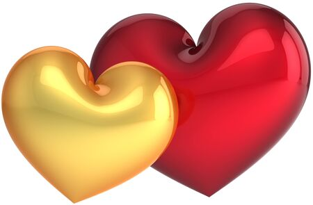 Two heart shapes golden and red. Love symbol classic. Sweet couple abstract. Beautiful Saint Valentines day greeting card template. This is a detailed render 3d (Hi-res). Isolated on white background Stock Photo - 8669905
