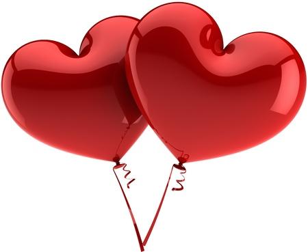 palloncino cuore: Coppia cuore palloncini totale rosso. L'amore � in astratto aria. Wedding decorazione romantica. San Valentino simbolo. Questo � un dettaglio tridimensionale rendering 3d (Hi-Res). Isolato su sfondo bianco Archivio Fotografico