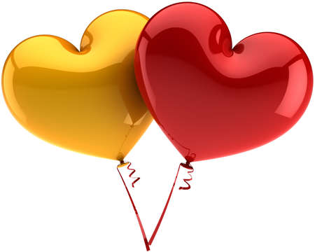 Heart balloons colored golden and red. Love is in the air abstract. Romantic decoration. Valentines day symbol. This is a detailed three-dimensional render 3d (Hi-Res). Isolated on white background photo