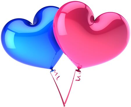 Heart balloons couple colored blue and pink. Heterosexual Love abstract. Shiny romantic Valentines day decoration. This is a detailed three-dimensional render 3d (Hi-Res). Isolated on white background Stock Photo - 8669939