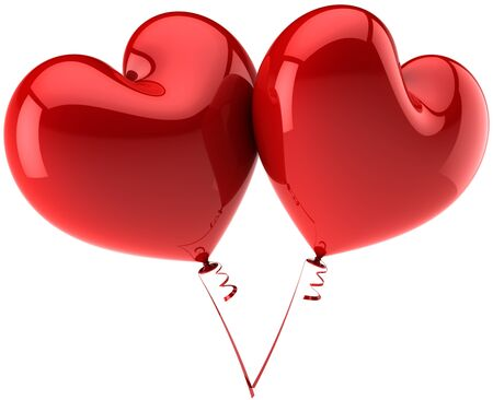 heart balloon: Red Hearts balloons in Love. Saint Valentines day concept. Harmony couple abstract. This is a detailed three-dimensional render 3d (Hi-Res). Isolated on white background Stock Photo