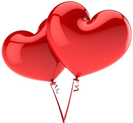 saint valentines: Due cuori come coppia di palloncini in amore romantico. Decorazione di partito lucida di eleganza. Saint Valentines day astratta. Questo � un dettaglio rendering tridimensionale 3d (alta risoluzione). Isolato su sfondo bianco