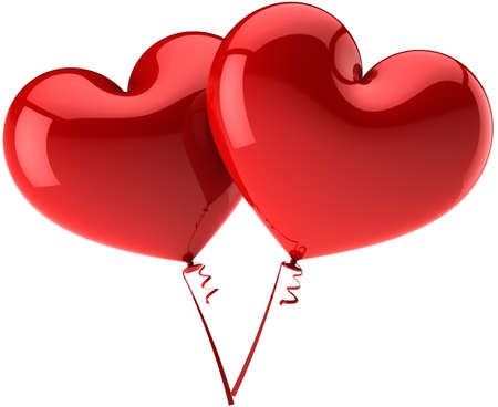 Red Hearts as balloons couple in Love harmony. Modern glossy romantic decoration. Saint Valentines day symbol. This is a detailed three-dimensional render 3d (Hi-Res). Isolated on white background photo