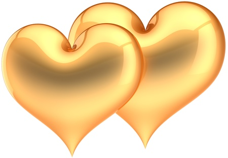 Golden Heart shapes couple. Glamour love symbol. Two luxury hearts. Saint Valentines day greeting card design element. This is a detailed three-dimensional render 3d. Isolated on white background Stock Photo - 8785744