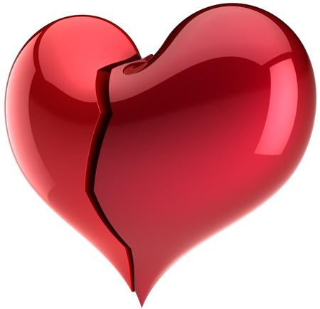 insuficiencia cardiaca: Forma de coraz�n roto. S�mbolo de amor de fracaso. Resumen de la depresi�n solitaria. Elemento de dise�o de San Valent�n. Esto es un detallado procesamiento 3d. Aislados en fondo blanco Foto de archivo