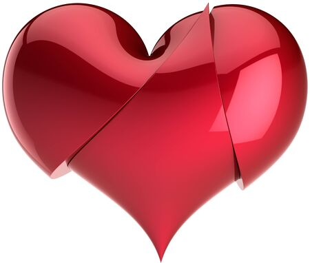 Heart broken up for three red glossy parts. Pain of divorce abstract. Saint Valentines Day greeting card design element. This is a detailed three-dimensional render 3d. Isolated on white background photo