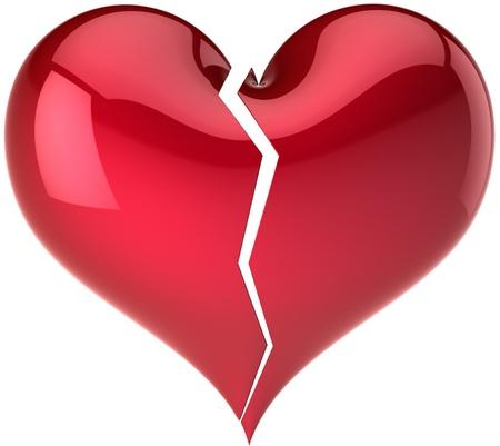 corazon roto: �Forma de coraz�n roto cl�sico. Caer en resumen de amor. Concepto de depresi�n amante aburrido. Plantilla de tarjeta de felicitaci�n de d�a de San Valent�n. Esto es un detallado procesamiento 3d. Aislados en fondo blanco Foto de archivo