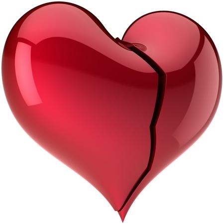 saint valentines: Broken heart con crack. Composizione di amore del fallimento. Lonely amante astratto. Giorno di San Valentino greeting card elemento di design. Questo � un dettaglio il rendering 3d. Isolato su sfondo bianco Archivio Fotografico