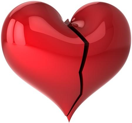 caes: Forma de coraz�n roto con crack. Te odio concepto! Caer en resumen de amor. Elemento de dise�o de tarjeta de felicitaci�n del d�a de San Valent�n. Esto es un detallado procesamiento 3d (alta resoluci�n). Aislados en fondo blanco