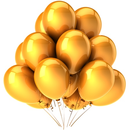 Balloons golden. Glamour party concept. Modern birthday decoration. Joyful happiness emotions. This is a detailed three-dimensional render 3d (Hi-Res). Isolated on white background Stock Photo - 8785790