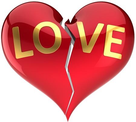 insuficiencia cardiaca: Amor roto coraz�n decorado con palabra de amor. Resumen de divorcio. Elemento de dise�o del d�a de San Valent�n. Esto es un detallado procesamiento 3d. Aislados en fondo blanco Foto de archivo