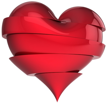Beautiful broken heart. Slices of sweetheart. Fall out of love abstract. Valentines Day greeting card design element. This is a detailed render 3d (Hi-Res). Isolated on white background photo