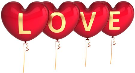 Love balloons heart shaped. Sweetheart couple party decoration. Saint Valentines Day greeting card design element. This is a detailed render 3d (Hi-Res). Isolated on white background photo