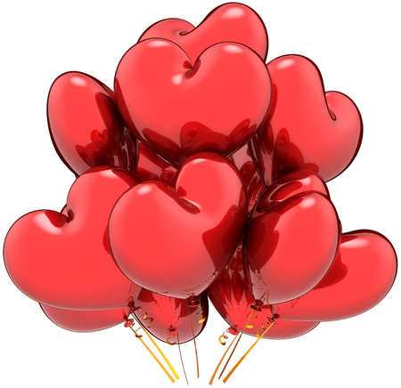 Heart shaped balloons. Happy Love party contemporary decoration. Valentines Day greeting card template. This is a detailed three-dimensional render 3d (Hi-Res). Isolated on white background photo