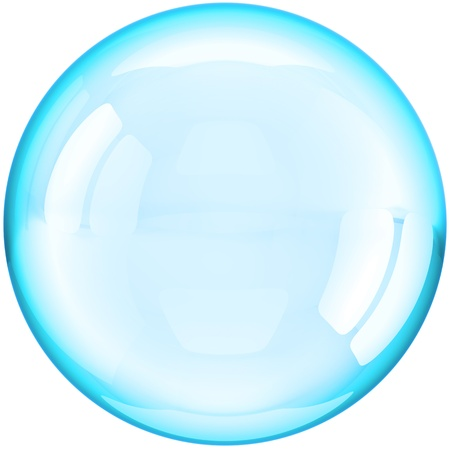 bubble icon: Soap Bubble ball translucent colored cyan blue. This is a detailed three-dimensional render 3d (Hi-Res). Isolated on white background Stock Photo