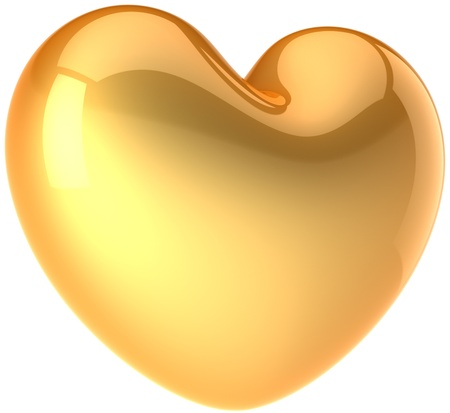 joy of life: Golden heart shape. Glamour Love romantic feeling symbol. Luxury beautiful life abstract. Valentines Day greeting card design element. This is a detailed render 3d. Isolated on white background Stock Photo