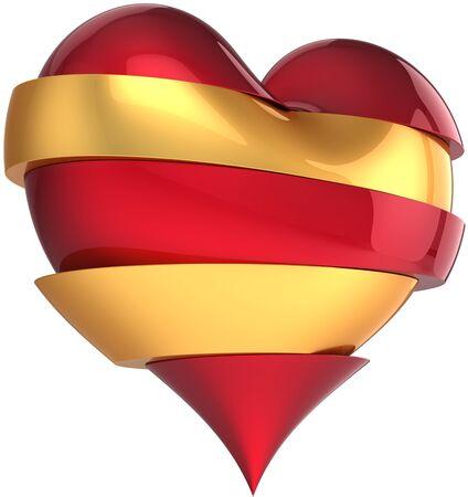 refused: Coraz�n roto procedente de sectores de rojos y oro. Ca�da de composici�n abstracta de amor. Elemento de dise�o de tarjeta de felicitaci�n de San Valent�n. Se trata de una interpretaci�n detallada de cgi 3d. Aislados en fondo blanco Foto de archivo