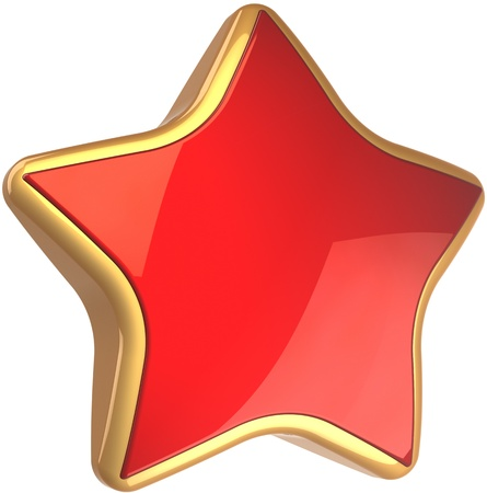 star rating: Star shape rating symbol red with golden border. Best choice sign. This is a detailed render 3d cgi (Hi-Res). Isolated on white background