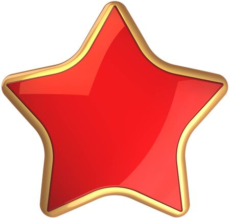 cgi: Red star shape rating symbol scarlet with golden border. Champion winner symbol. This is a detailed render 3d cgi (Hi-Res). Isolated on white background