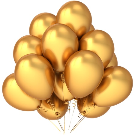 Balloons total luxury golden. Glamour party decoration concept. This is a detailed three-dimensional render 3d cgi (Hi-Res). Isolated on white background