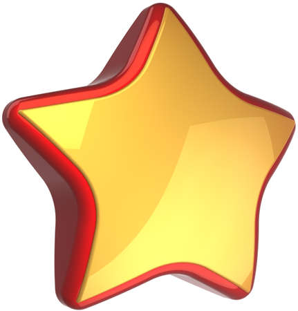 best rated: Golden star shape luxury symbol with red border. High quality success winner award symbol. This is a detailed render 3d cgi (Hi-Res). Isolated on white background Stock Photo