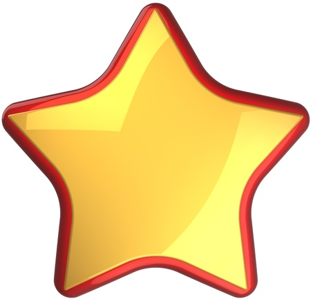 Golden star shape rating symbol with red border. First place victory award symbol. This is a detailed render 3d cgi (Hi-Res). Isolated on white background photo