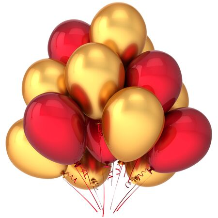 cgi: Party balloons golden and red in contrast. Luxury celebration concept. Contemporary exclusive decoration. Joyful childhood emotions. Detailed render 3d cgi (Hi-Res). Isolated on white background
