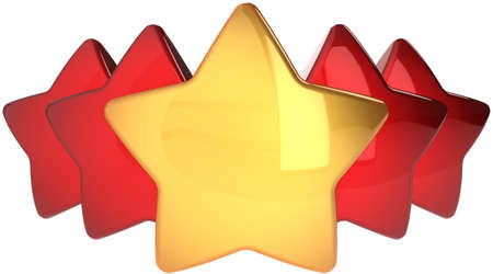 genuine good: Star shapes one golden four red. Leadership winner success concept. The best choice abstract. This is a detailed render 3d (Hi-Res). Isolated on white background