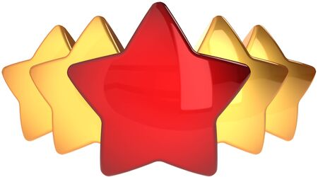 five stars: Star shapes one red four golden. Leadership champion success concept. The best choice abstract. This is a detailed render 3d (Hi-Res). Isolated on white background