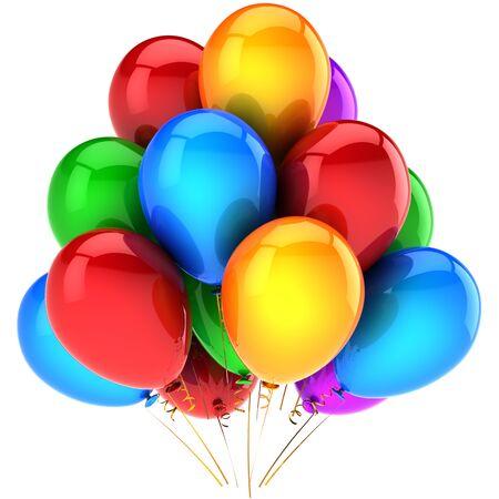 globos fiesta: Partido globos coloridos y bellos. Decoraci�n de celebraci�n de vacaciones moderno. Resumen de las emociones felices cumplea�os. Esto es un detallado procesamiento 3D (alta resoluci�n). Aislados en fondo blanco