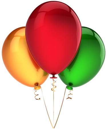 Party balloons three multicolor (red, yellow, green). Beautiful decoration. Birthday funny happiness emotions abstract. This is a detailed render 3D. Isolated on white background Stock Photo - 8919245