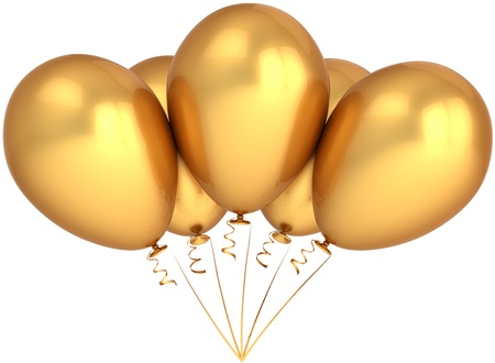 Party balloons golden. Glamour luxury celebration concept. Modern birthday decoration. Happiness abstract. This is a detailed render 3d (Hi-Res). Isolated on white background Stock Photo - 8919249