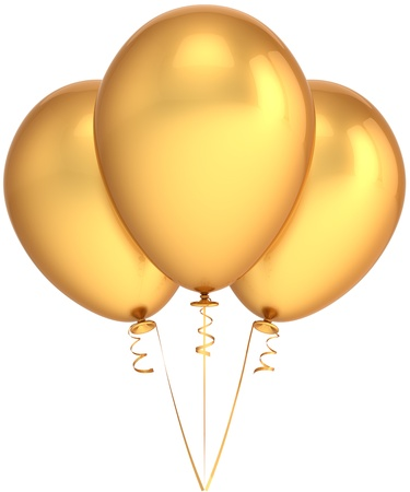 Party balloons three total golden. Luxury birthday celebration decoration. Joyful happiness emotions abstract. This is a detailed render 3d (Hi-Res). Isolated on white background Stock Photo - 8919246