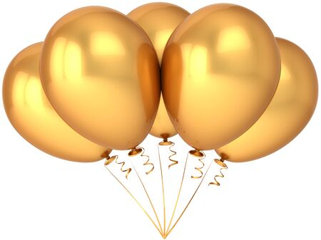 love gold: Party balloons golden. Glamour wealth celebration concept. Beautiful birthday decoration. Happiness abstract. This is a detailed render 3d (Hi-Res). Isolated on white background