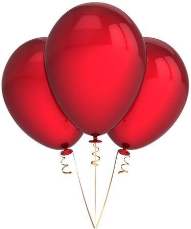 Party balloons colored deep red. Birthday celebration holiday decoration classic. Happiness abstract. This is a detailed render 3d (Hi-Res). Isolated on white background photo
