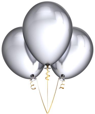 bodas de plata: Partido globos de plata gris metalizado. Decoraci�n de celebraci�n de la hermosa cumplea�os con estilo brillante. Alegre diversi�n concepto. Esto es un detallado procesamiento 3d (alta resoluci�n). Aislados en fondo blanco Foto de archivo
