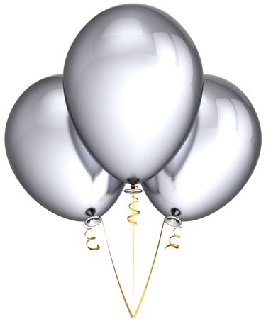 Party balloons silver gray metallic. Beautiful shiny stylish birthday celebration decoration. Joyful fun concept. This is a detailed render 3d (Hi-Res). Isolated on white background