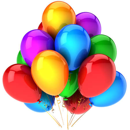 Party balloons colorful and beautiful. Multicolor anniversary celebration decoration. Birthday joyful happiness fun abstract. This is a detailed render 3D (Hi-Res). Isolated on white background Stock Photo - 8983499