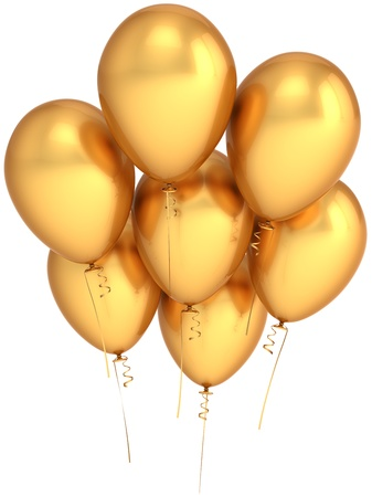 Party balloons seven golden. Riches luxury celebration concept. Beautiful modern birthday decoration. Joyful happiness abstract. This is a detailed render 3d (Hi-Res). Isolated on white background