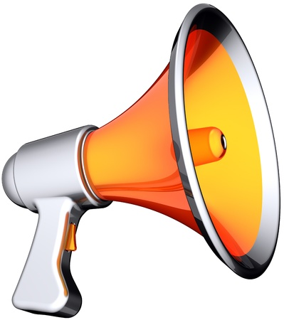 Megaphone announcement news. Modern stylish colorful (orange with silver parts) loudspeaker. Multimedia propaganda warning broadcast concept. This is a detailed render 3d. Isolated on white background photo